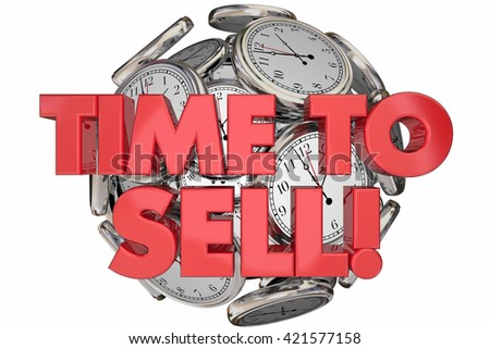 Time to Sell Clocks Sales Make Money Words 3d Animation - stock photo