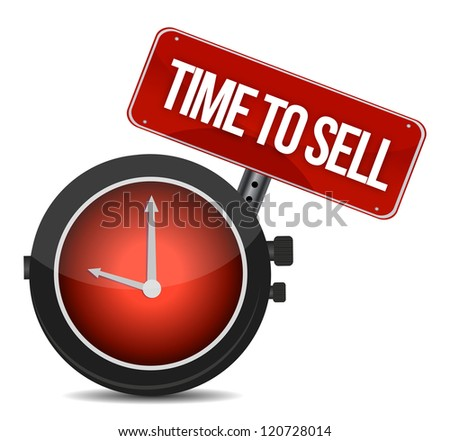 time to sell concept illustration design over a white background - stock photo
