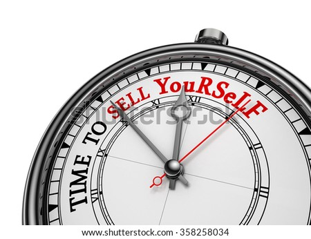 Time to sell yourself motivational concept clock, isolated on white background