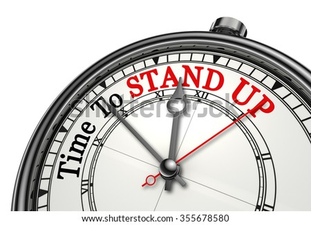 Time to stand up red word on concept clock, isolated on white background