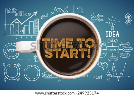 time to start! coffee mug with business sketches background - stock photo