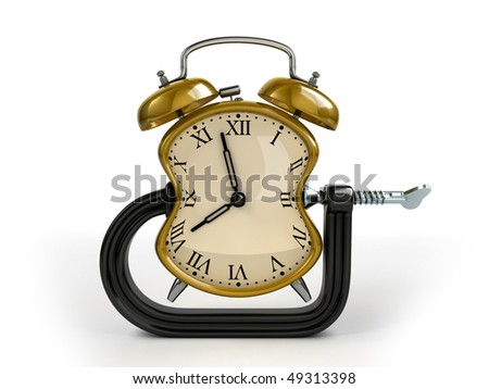 Time warp concept. C clamp squeeze alarm clock. - stock photo
