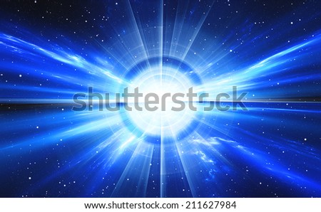 Time warp, traveling in space with stars. - stock photo