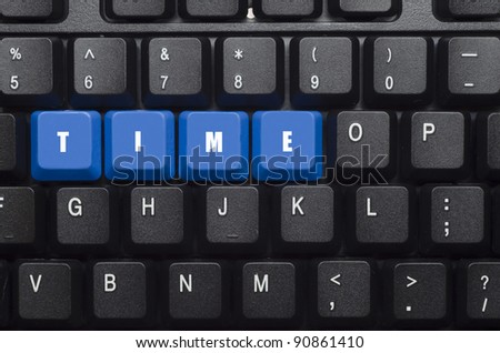 time word on blue and black keyboard button