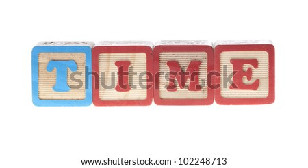 Time written with letter wooden cubes isolated