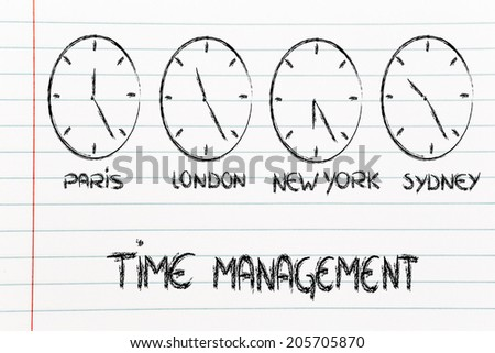 time zone & clocks representing the role of time management in a global business - stock photo