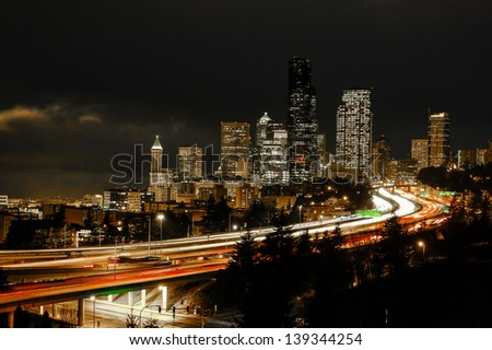 Timed exposure of down down Seattle - stock photo