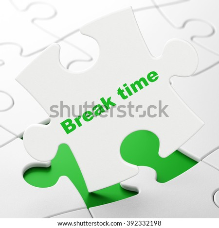 Timeline concept: Break Time on puzzle background - stock photo