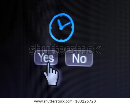 Timeline concept: buttons yes and no with pixelated Clock icon and Hand cursor on digital computer screen, selected focus 3d render