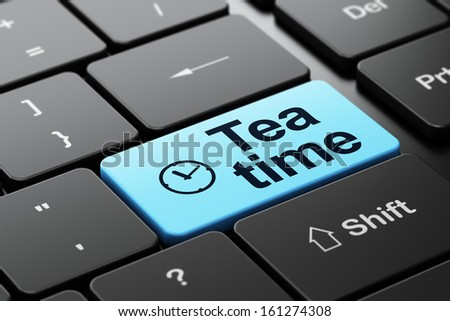 Timeline concept: computer keyboard with Clock icon and word Tea Time, selected focus on enter button, 3d render - stock photo