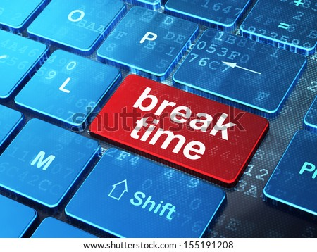 Timeline concept: computer keyboard with word Break Time on enter button background, 3d render - stock photo