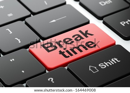 Timeline concept: computer keyboard with word Break Time, selected focus on enter button background, 3d render - stock photo