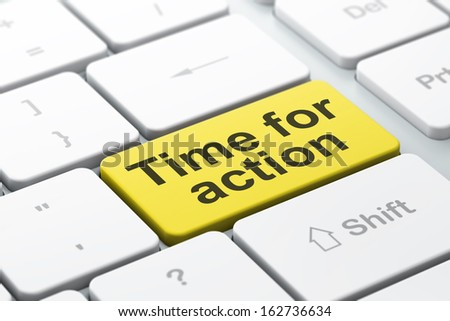 Timeline concept: computer keyboard with word Time for Action, selected focus on enter button background, 3d render - stock photo