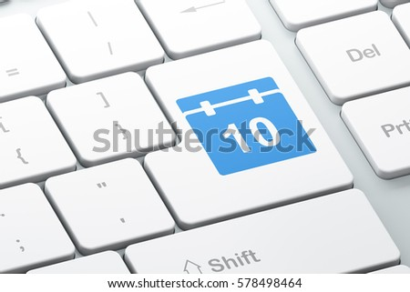 Timeline concept: Enter button with Calendar on computer keyboard background, 3D rendering