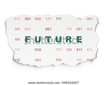 Timeline concept: Painted green text Future on Torn Paper background with  Binary Code