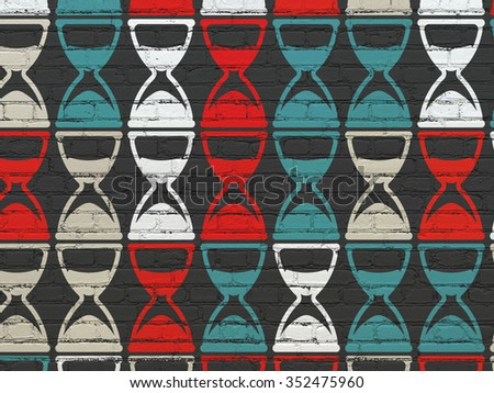 Timeline concept: Painted multicolor Hourglass icons on Black Brick wall background - stock photo