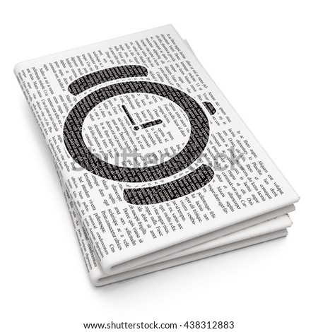 Timeline concept: Pixelated black Watch icon on Newspaper background, 3D rendering