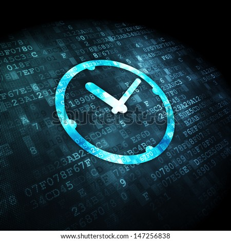 Timeline concept: pixelated Clock icon on digital background, 3d render - stock photo