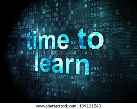 Timeline concept: pixelated words Time to Learn on digital background, 3d render