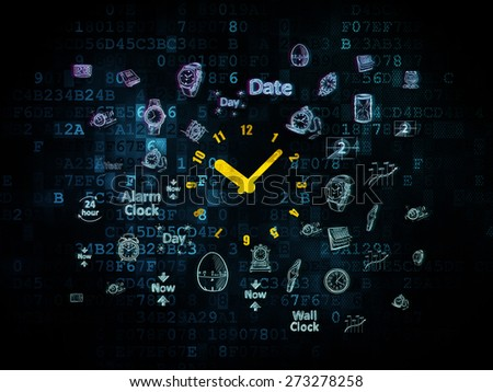 Timeline concept: Pixelated yellow Clock icon on Digital background with  Hand Drawing Time Icons, 3d render - stock photo