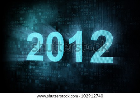 Timeline concept: pixeled word 2012 on digital screen, 3d render