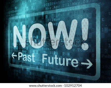 Timeline concept: pixeled word Past Now Future on digital screen, 3d render - stock photo