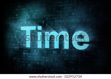 Timeline concept: pixeled word Time on digital screen, 3d render