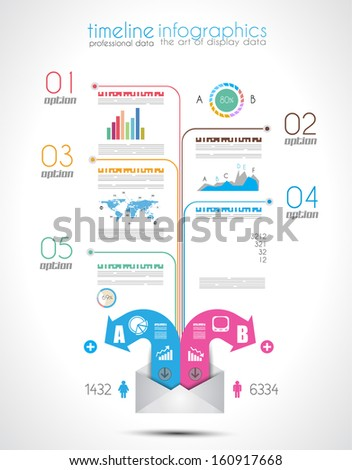 Timeline to display your data in order with Infographic elements technology icons,  graphs,world map and so on. Ideal for statistic data display. - stock photo