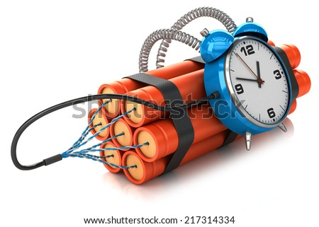 Timer bomb isolated on white background 3D - stock photo