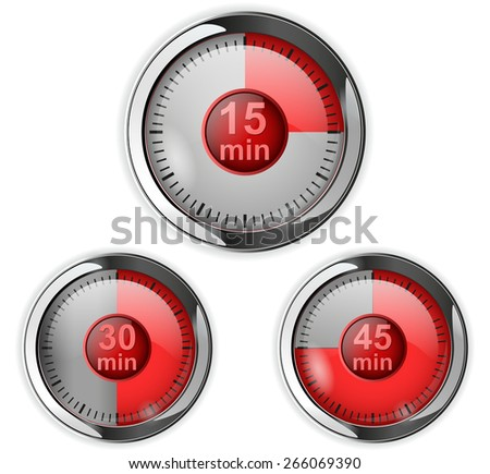 Timer icon with time elapsed - fifteen, thirty, fourty-five minute.  Isolated on white background. Raster version - stock photo