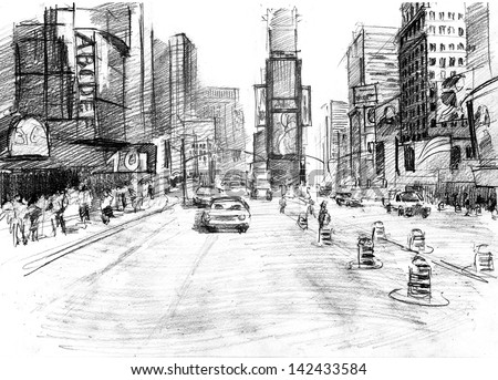Times Square  in New York city in a sketchy style: artistic pencil drawing - stock photo