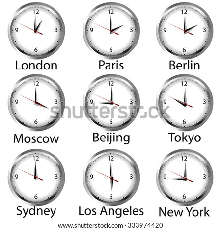 Timezone clock. Clocks showing the time around the world. - stock photo