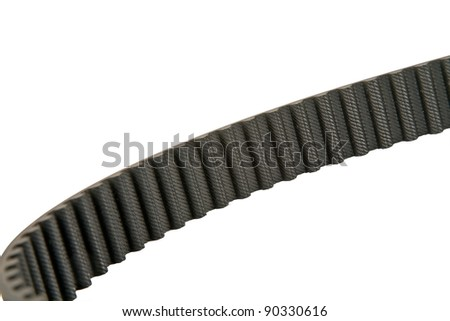 timing belt drive presents its toothed surface - stock photo
