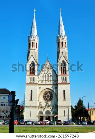timisoara city romania balcescu church cathedral landmark architecture - stock photo