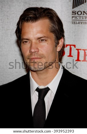 "Timothy Olyphant at the Premiere Screening of FX's ""Justified"" held at the Directors Guild of America in Hollywood, California, United States on March 8, 2010."