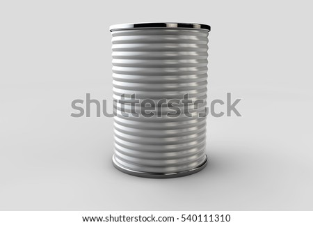 Tin box can packaging container isolated 3d illustration on gray background