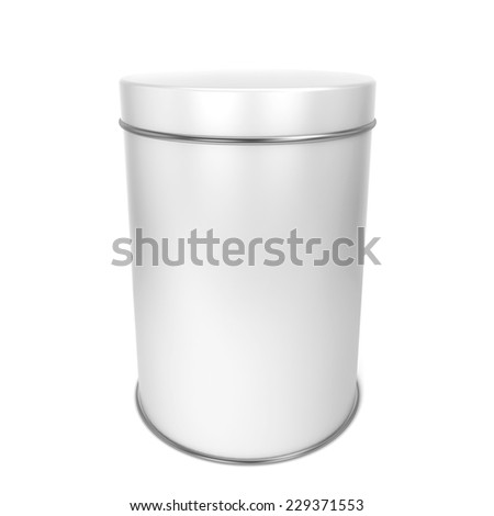 Tin box. 3d illustration isolated on white background