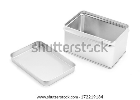 tin box on white background - stock photo