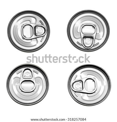 tin can aluminum top view isolated on white background - stock photo