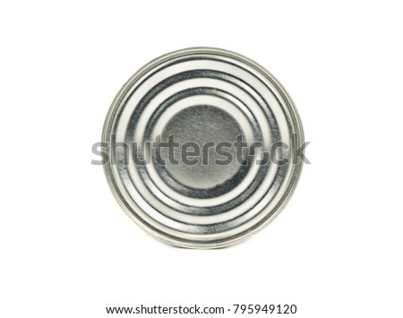 Tin can for products isolated on white background
