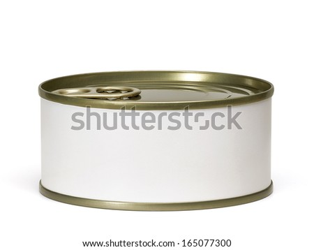 Tin can from side with white blank label including clipping path