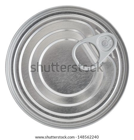 Tin Can Lid, Food Preserve Ringpull Canister Sealed Top, Isolated Macro Closeup  - stock photo