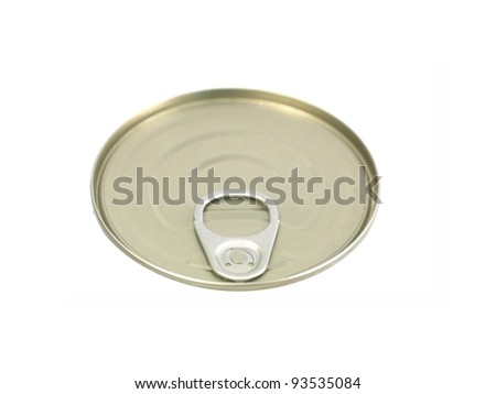Tin can lids isolated against a white background - stock photo