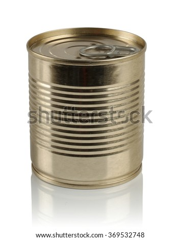 tin can on a white background in the Studio