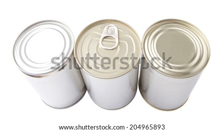 Tin can over white background