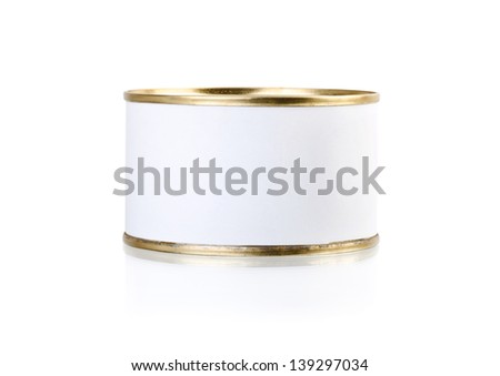 Tin can with blank white label isolated on white - stock photo