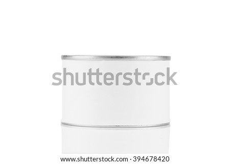tin can with blank white label isolated on white background