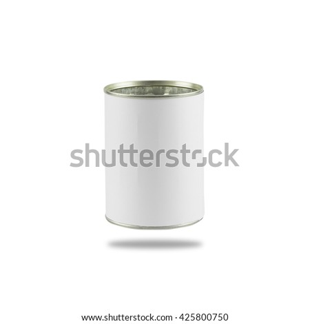 tin can with blank white label isolated on white background - stock photo