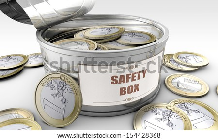tin can with coins inside