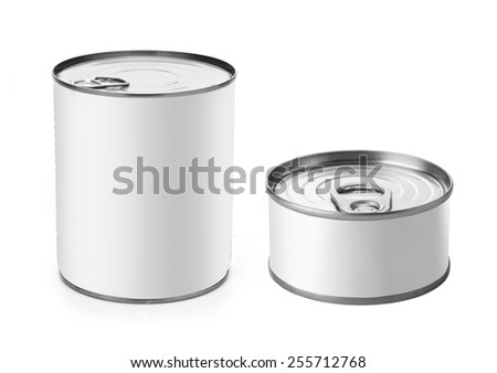 Tin Can with Copy Space Isolated on a White Background. - stock photo